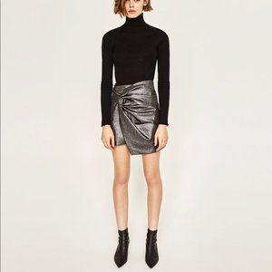NWT Zara Woman Silver Asymmetrical Mini Skirt